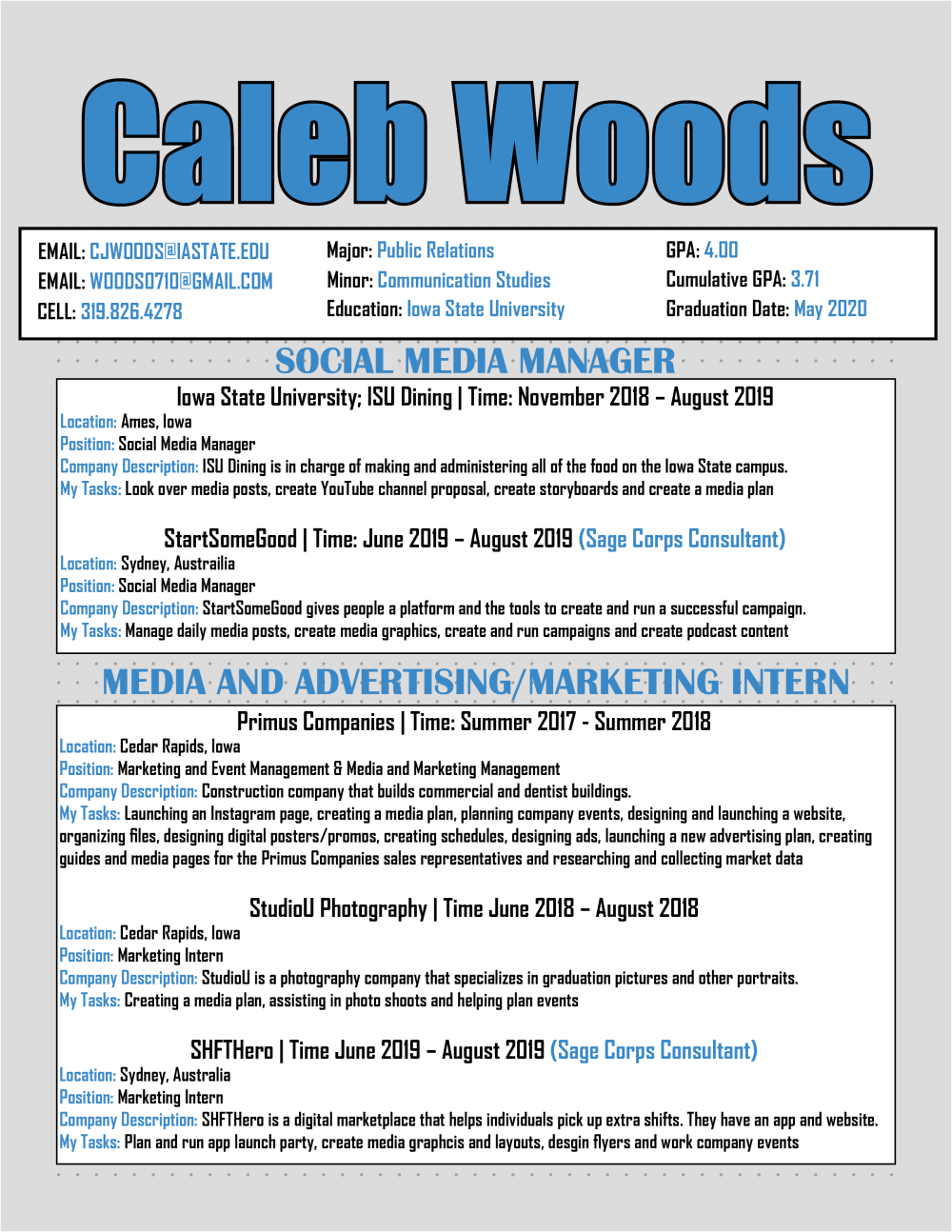 Resume Caleb Woods Portfolio